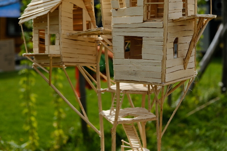 Wooden model of a treehouse in Amsterdam, the Netherlands Фото со стока