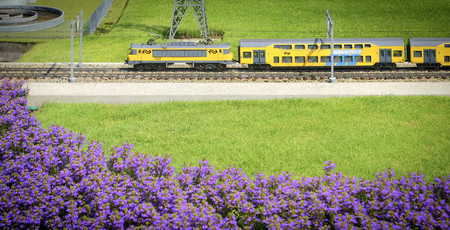 Miniature train in rural landscape in Madurodam, The Netherlands 版權商用圖片