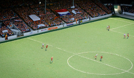 Miniature dutch soccerfield in Madurodam, The Netherlands