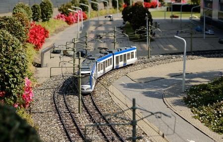 Miniature train in rural landscape in Madurodam, The Netherlands Stok Fotoğraf