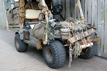 Allied army jeep at a military vehicle meeting. These were the vehicle of choice for getting over rough terrain during world war 2.