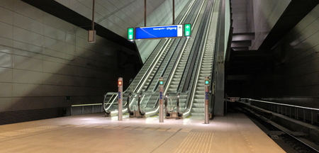 panoramic angle of escalator Escalator front view. escalator in subway metro station . Moving up staircase escalator. amsterdam netherlands Banco de Imagens