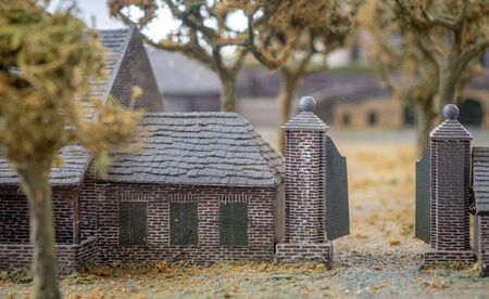 scale model of castle keverberg and church in Kessel, Limburg, the Netherlands Stok Fotoğraf