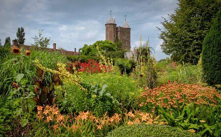 Beautiful flowers, trees and plants and garden landscaping in Sissinghurst Caslte Gardens in Cranwood, England