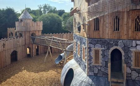 Large play castle in amusement park knockhatch in england united kingdom
