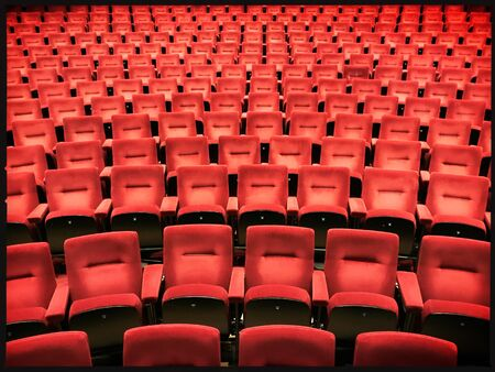 Empty chairs in a theatre due to lockdown social distancing covid 19 coronavirus in the netherlands Stockfoto