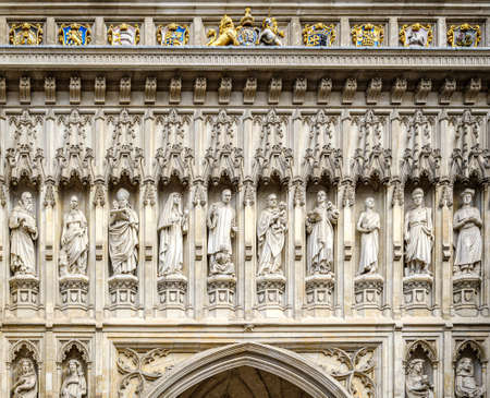 westminster abbey facade close up in london city united kingdom