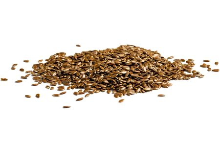 Flax seeds, background or texture isolated on white. lose-up.