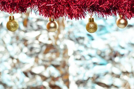 Christmas balls, wine glass, christmas decorations on silver abstract background. Christmas composition.