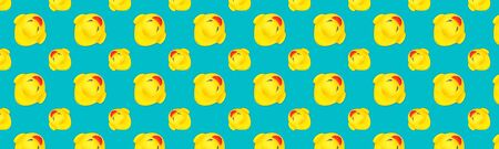 Yellow seamless pattern. Plastic toys Yellow rubber ducks isolated on blue background