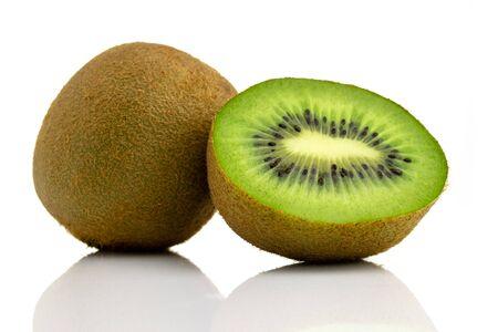 Kiwi fruit isolated. Green fresh kiwifruit. Organic nutrition co