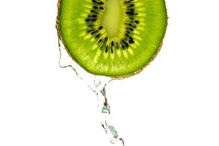 Kiwi isolated. Juicy green kiwifruit. Organic fresh fruit.