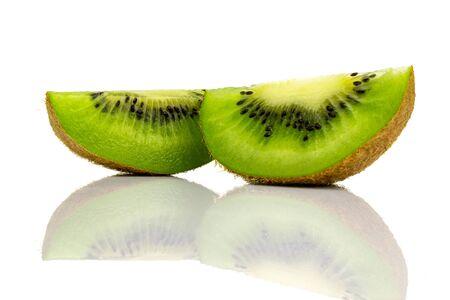 Kiwi fruit. Green kiwifruit isolated on white background. Stock fotó