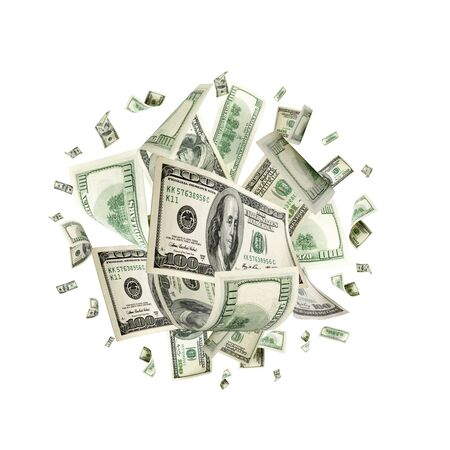 Hundred dollar bill. Falling money isolated background. American Фото со стока