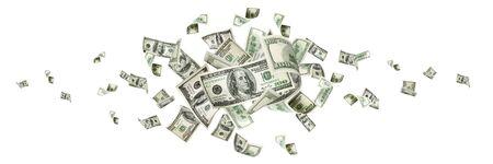 Money stack. Hundred dollars of America. Falling money isolated, us bill.