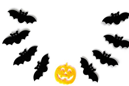 Halloween icons. scary pumpkin decoration isolated on white back Stock Photo