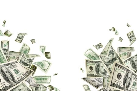 Geldstapel. Hundert Dollar von Amerika. Fallendes Geld isoliert,