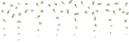 Hundred dollar bill. Falling money isolated background. American cash.