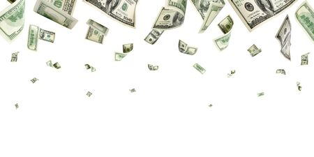 Hundred dollar bill. Falling money isolated background. American 写真素材