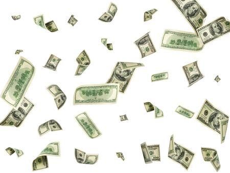 Dollarbiljet. Washington amerikaans geld. Usd geld achtergrond. Geld vallen. Stockfoto