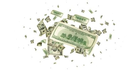 Dollar sign. American money. Cash background, us bill. Money falling.