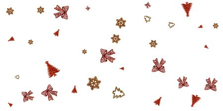 Christmas Background Silver. Gold Christmas decoration isolated on white. New Year celebration pattern. Banner mock up for display of product or design content
