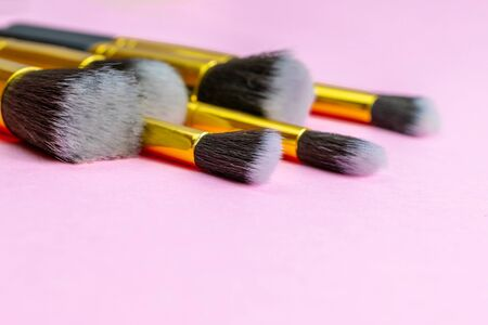 Makeup products. Cosmetic drawing brushes for powder with copy s