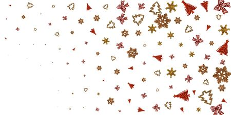 New years eve. 2020 Christmas decoration isolated on white background. Xmas celebration pattern. Flat lay design. Copy Space.