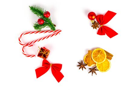 New Years Background. Christmas decoration isolated on white. Xm