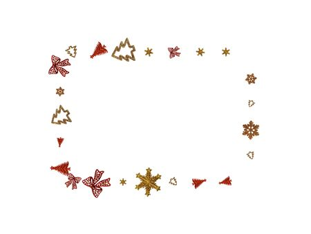 New Years Background. Christmas decoration isolated on white. Xmas celebration pattern. Flat lay design. Copy Space. 写真素材