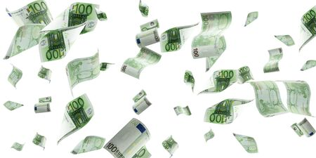 Money background. Hundred european euro.Business cash money falling. 写真素材