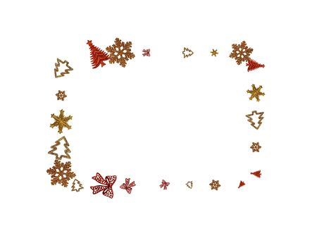New years eve celebration. Xmas pattern isolated on white background. Gold Christmas decorations.Holiday festive celebration concept. 写真素材