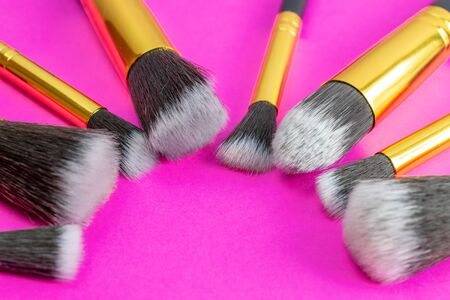 Makeup brush clean. Drawing cosmetic products with copy space. B