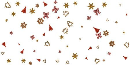 Christmas Pattern Red. Xmas celebration pattern isolated on white background. New Year gold decoration. Flat lay design. Copy Space