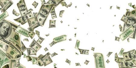 Geldstapel. Hundert Dollar von Amerika. Fallendes Geld isoliert, uns Rechnung. Standard-Bild