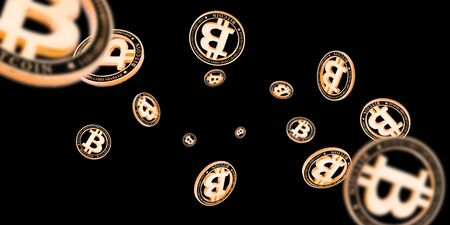 Bitcoin wallet. Gold Falling Cryptomoney isolated on dark. Litecoin, Ethereum Cryptocurrency background.