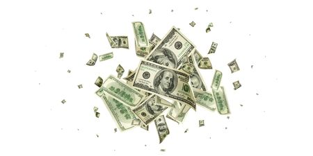 American money. Money falling. Dollar sign. Cash background, us bill. Banque d'images