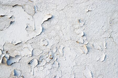 Empty Old Brick Wall Texture Background. Grungy Wide Brickwall. Painted Distressed Wall Surface. Grunge white Stonewall Shabby Building Facade With Damaged Plaster. Abstract Web Banner. Copy Space. Stock Photo