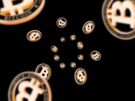 Bitcoin Cash. Gold Falling Cryptocurrency. Falling coins isolated on dark. Litecoin, Ethereum Cryptocurrency background