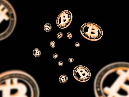 Bitcoin Cash. Gold Falling Cryptocurrency. Falling coins isolated on black. Litecoin, Ethereum Cryptocurrency background. Bitcoin concept