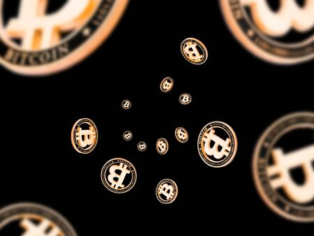 Bitcoin business. Gold Falling coins on black. Litecoin, Ethereum Cryptocurrency background.
