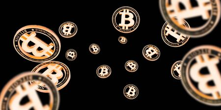 Bitcoin Cash. Gold Falling Cryptocurrency. Falling coins isolated on dark. Litecoin, Ethereum Cryptocurrency background Stockfoto