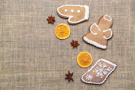 Gingerbread cookies, Christmas homemade gingerbread with empty copy space. Celebration cooking Winter concept. New year and Xmas postcard or invitation