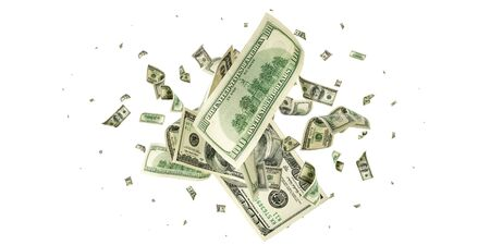 American money. Money falling. Dollar sign. Cash background, us bill. 스톡 콘텐츠
