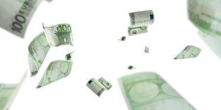 Euro money falling cash. European banknotes isolated on white background.