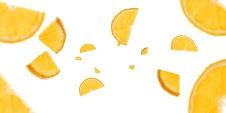 Orange fruit texture background. Citrus fruit tangerine flying on white. Fresh food concept.