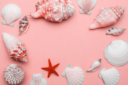 Hello Summer pattern background. Frame of White seashells, red starfish isolated on trendy Living Coral pastel color backdrop. Top view travel or vacation concept. Flat lay