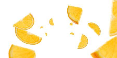 Falling sliced Orange fruit background. Citrus tangerine flight in air. Fresh food concept.