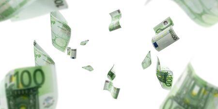 Euro money falling cash. European banknotes isolated on white background. Stock fotó - 140236406