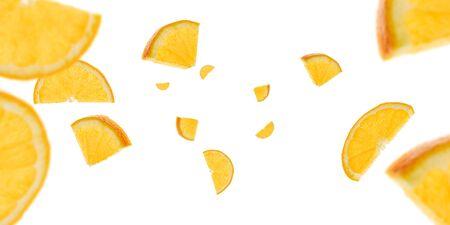Orange fruit pattern. Tangerine slices falling on white. Citrus background